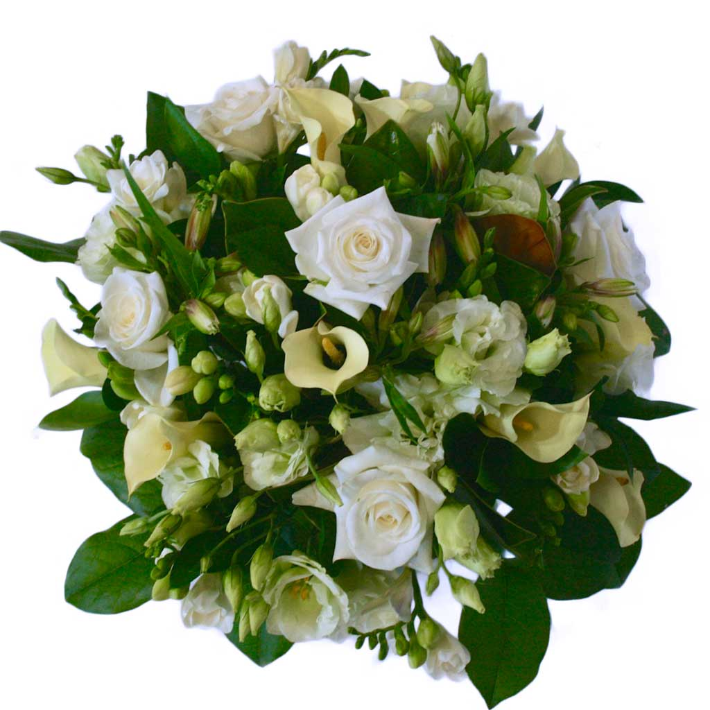 Greens And White Flower Bouquet