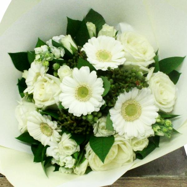 White Posy Flowers in Vox Box Vase delivery Wellington NZ - Flowers Wellington NZ - Flower Shop Florist Wellington NZ - 1
