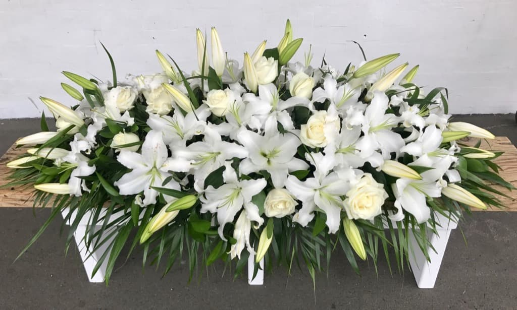 Coffin Casket Spray in White Flowers - Casket or Coffin Flowers Wellington NZ - Flower Shop Florist Wellington NZ