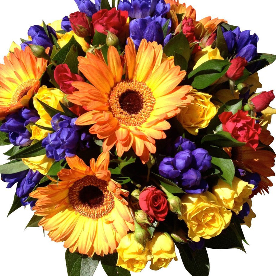 Orange, Blue & Red bright mix flower bouquet