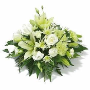 Posy Bowl arrangement Whites, greens - Posy Flowers in Oasis Bowl - Flower Shop Florist Wellington NZ