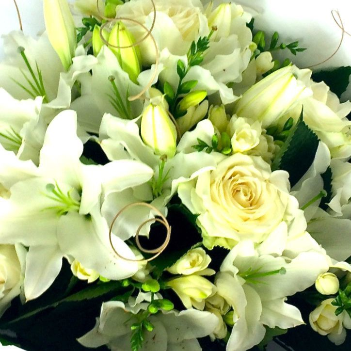 White, Green mix Flowers bouquet with Oriental LIlies