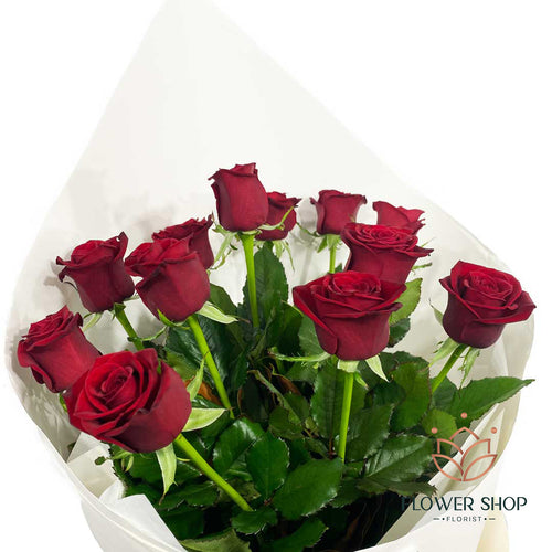 12 red roses flowers bouquet by florist in Wellington New Zealand flower delivery valentines day