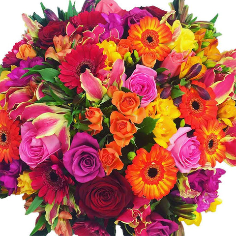 Bright Orange, yellow, Pink Flowers Bouquet - Flower delivery Wellington NZ - Wellington central city florists online - flowers in wellington - Flower Shop Florist Wellington NZ