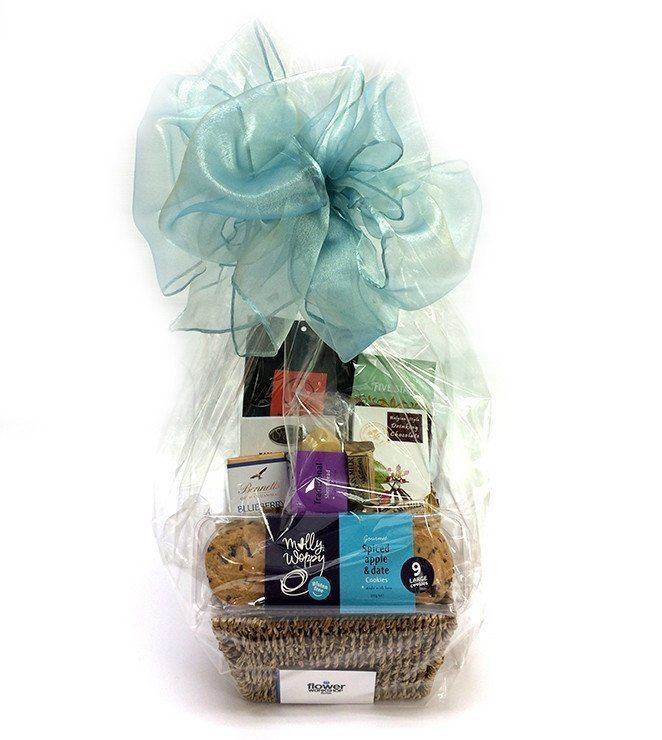 Coffee, Tea and Hot Chocolate & Treats Gift Basket - Gourmet Gift Hamper Baskets - Flower Shop Florist Wellington NZ