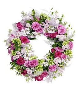 Wreath in Soft mix Flowers - Wreath Flowers Wellington New Zealand - Flower Shop Florist Wellington NZ