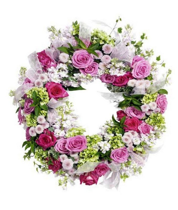 Wreath in Soft mix Flowers - Wreath Flowers - Flower Shop Florist Wellington NZ