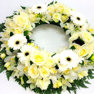 Wreath flowers in white and green colours Wellington New Zealand flower delivery funeral home