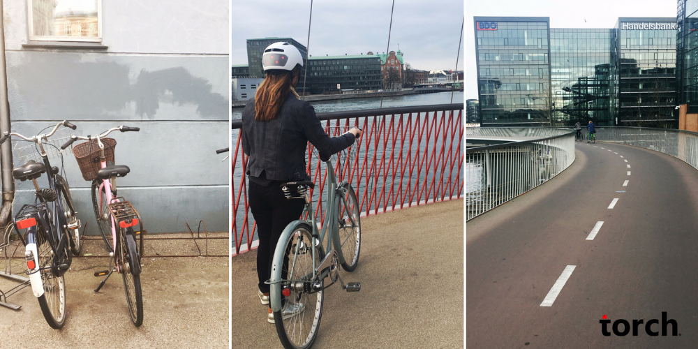 Torch Apparel cycling in Copenhagen with the T2 bike helmet