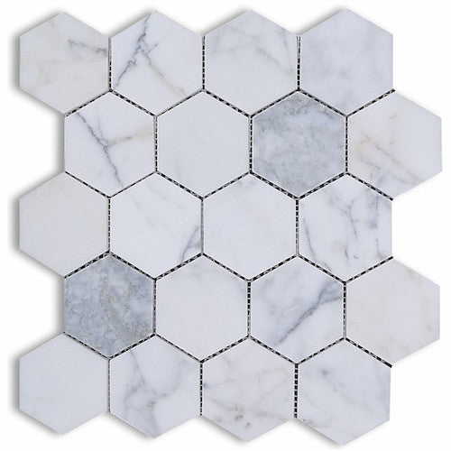 HEXAGON CALACATTA STATUARIO 75MM MOSAIC