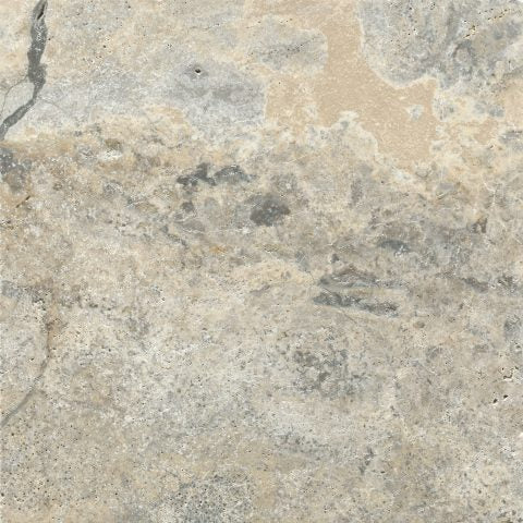 WARM ASH SILVER TRAVERTINE LOOK PORCELAIN