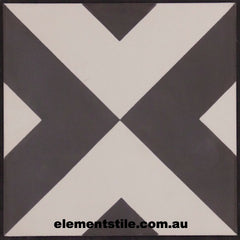 INWARD ARROW BLACK AND WHITE CEMENT ENCAUSTIC TILE