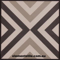 INWARD ARROW NARROW BLACK WHITE AND GREY CEMENT ENCAUSTIC TILE
