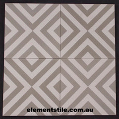 INWARD ARROW NARROW GREY AND WHITE CEMENT ENCAUSTIC TILE