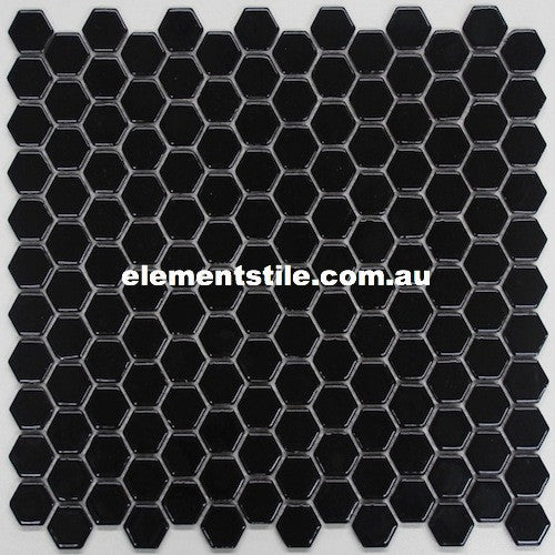 HEXAGONAL MINI BLACK GLOSS GLAZED PORCELAIN MOSAIC