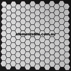 HEXAGONAL MINI WHITE MATTE GLAZED PORCELAIN MOSAIC