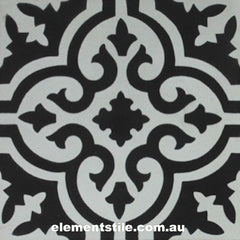 FLOWER NERO BIANCO CEMENT ENCAUSTIC TILE