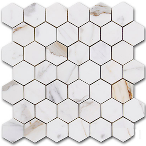 HEXAGON CALACATTA GOLD 48MM MOSAIC