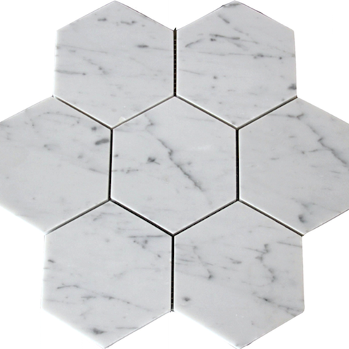HEXAGON CARRARA 125MM MOSAIC