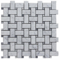 BASKETWEAVE CARRARA & GREY DOT MOSAIC TILE