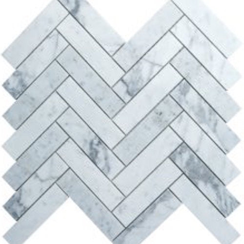 HERRINGBONE CARRARA 25X100MM MOSAIC