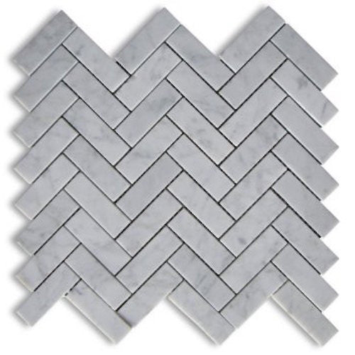 HERRINGBONE CARRARA 20X64MM MOSAIC