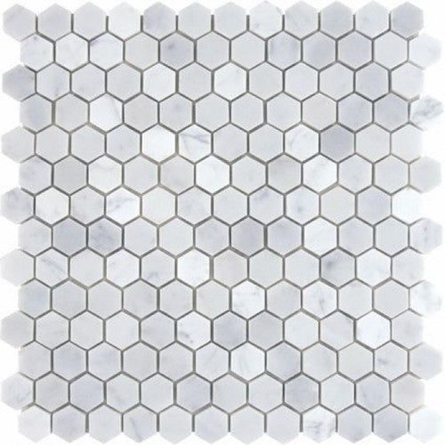 HEXAGON CARRARA 25MM MOSAIC