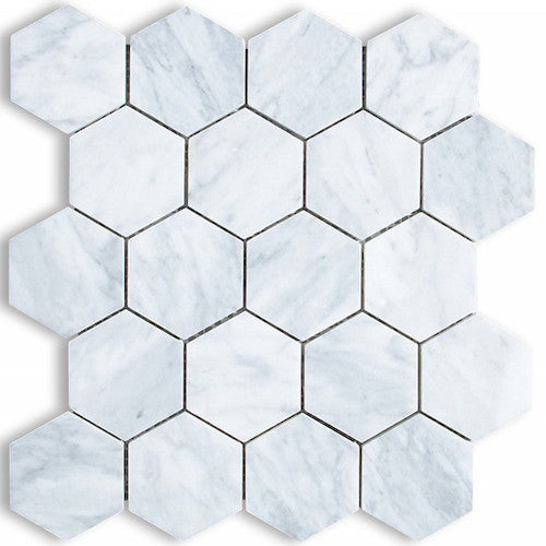 HEXAGON CARRARA 75MM MOSAIC