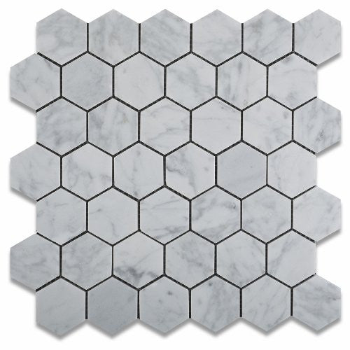 HEXAGON CARRARA 48MM MOSAIC