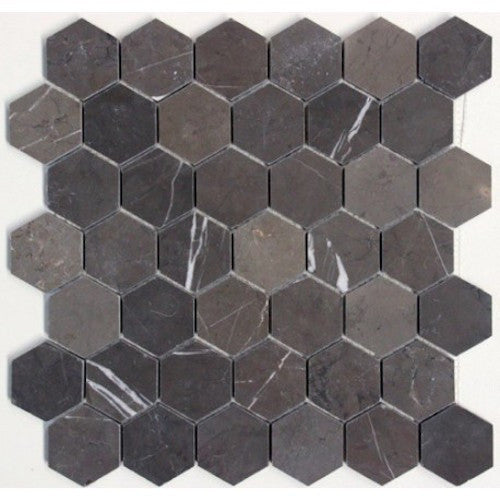 HEXAGON PIETRA GREY 48MM MOSAIC