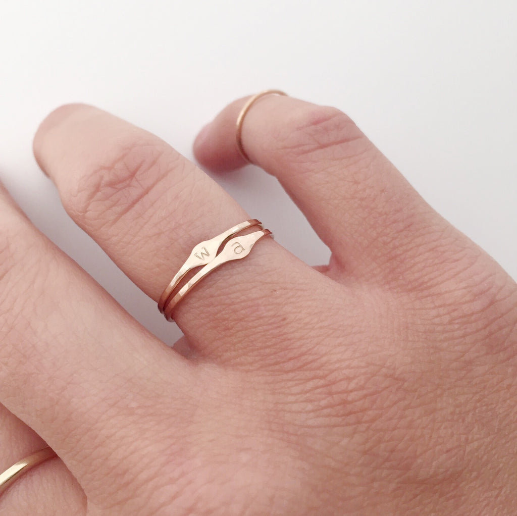 Gold Filled Hammered Initial Stacking Ring – Tea Party Jewelry