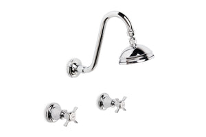 Neu England Shower Set with 100mm Ball Joint Rose (Cross Handles) (Chrome)