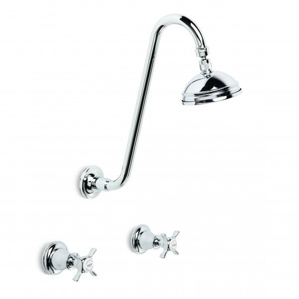 Neu England Shower Set Extended Arm with 100mm Ball Joint Rose (Cross Handles) (Chrome)