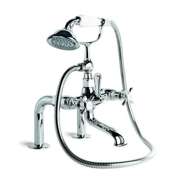 Neu England Bath Mixer with Handshower, Hob Mount (Cross Handles) (Chrome)