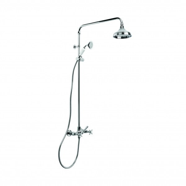 Neu England Exposed Shower Set with 150mm Rose, Rail Shower and Diverter (Chrome)