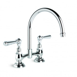 Neu England Kitchen Mixer with Swivel Spout 140mm Fixed Centres (Levers) (Chrome)