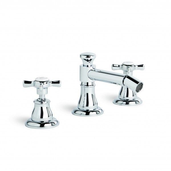 Neu England Bidet Set 3TH with 32mm Popup Waste (Cross Handles) (Chrome)