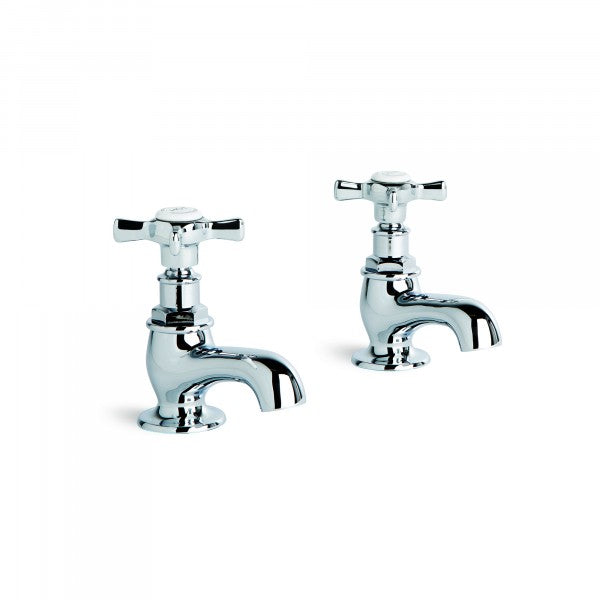 Neu England Pillar Taps Pair (Cross Handles) (Chrome)