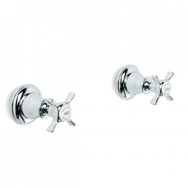 Neu England Wall Taps Pair (Cross Handles) (Chrome)