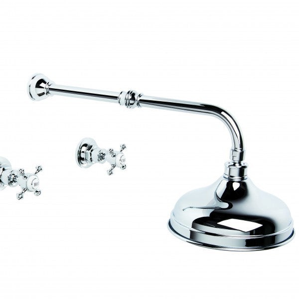Winslow Wall Shower Set with 200mm Ball Joint Rose (Cross Handles) (Chrome)
