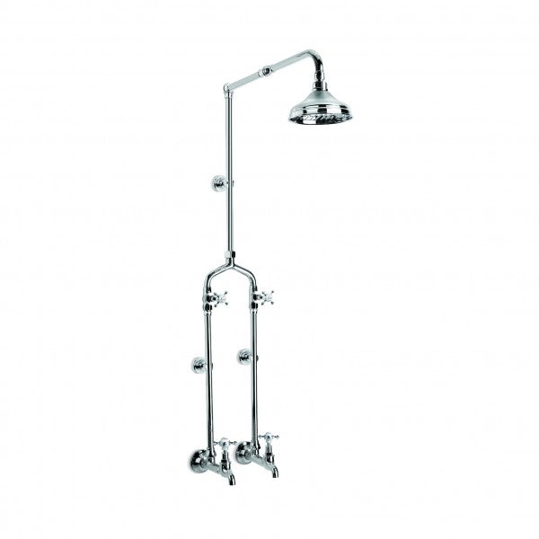 Winslow Bath/Overhead Shower Set Exposed with Mixer and 150mm Rose (Cross Handles) (Chrome)