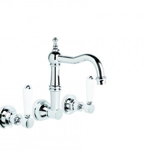 Winslow Wall Set with 185mm Traditional Swivel Spout (Lever) (Chrome) (Flow Control)