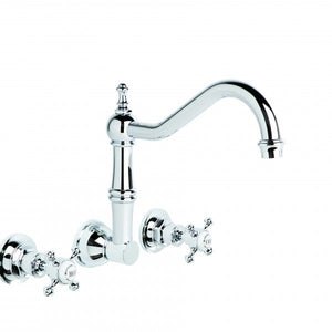 Winslow Wall Set with 240mm Traditional Swivel Spout (Cross Handles) (Chrome) (Flow Control)