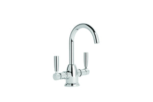 Brodware Manhattan Twin Lever Basin Mixer Gooseneck (Chrome)