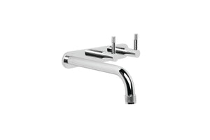 Yokato Wall Bath Set with 160mm Spout, Backplate and Installation Kit (Knurled Levers) (Chrome)