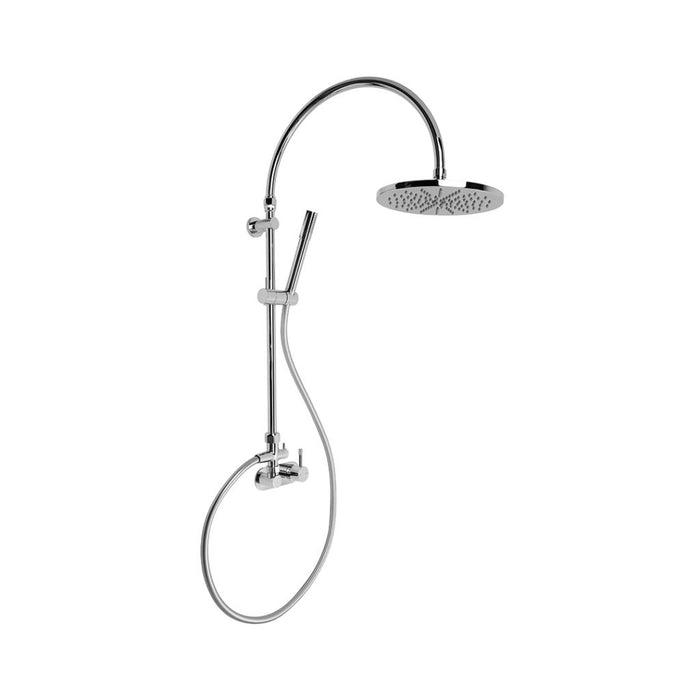 Yokato Exposed Overhead Shower Mixer Set with 225mm Rose, Handshower and Installation Kit (Knurled Lever) (Chrome)