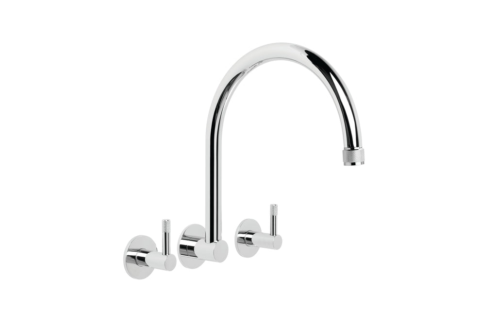Yokato Wall Set with 235mm Swivel Spout (Knurled Levers) )(Chrome) (Flow Control)