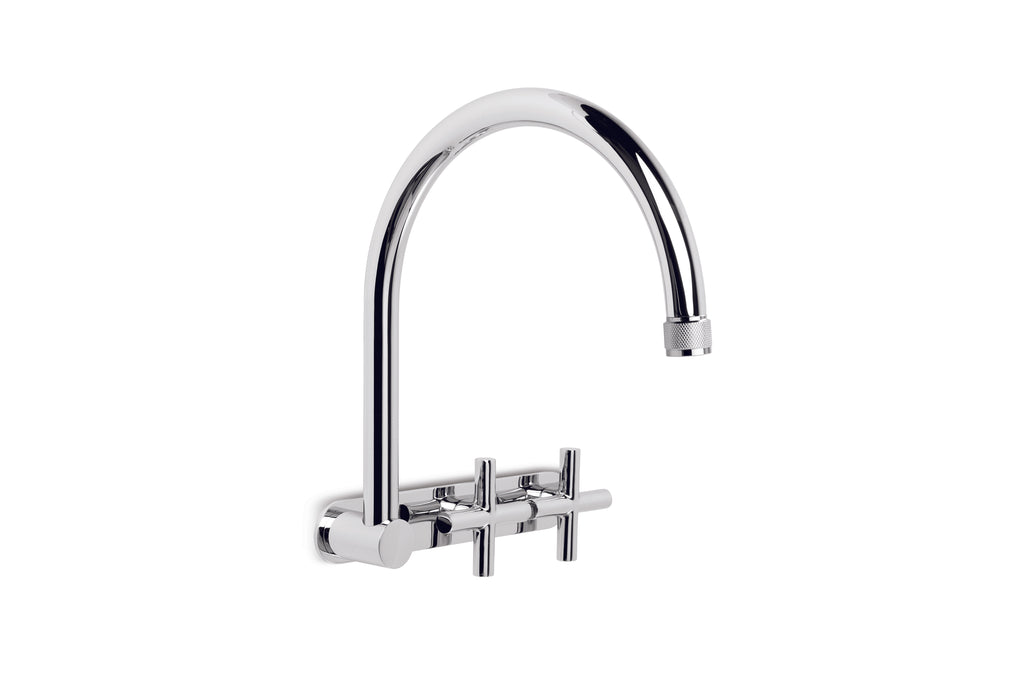 Yokato Wall Set with 235mm Swivel Spout, Backplate and Installation Kit (Cross Handles) (Chrome)