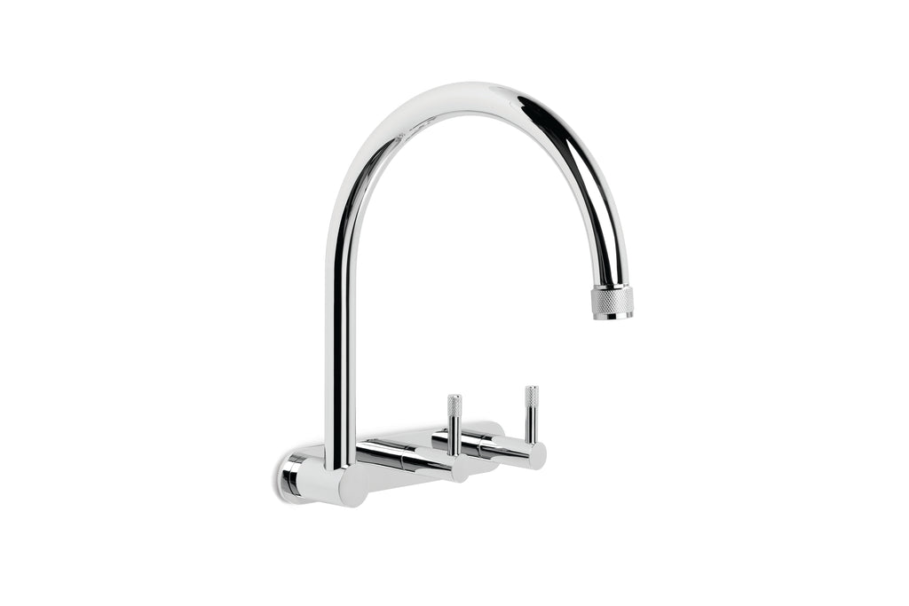 Yokato Wall Set with 235mm Swivel Spout, Backplate and Installation Kit (Knurled Levers) (Chrome) (Flow Control)