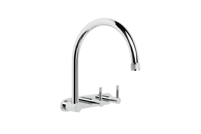 Yokato Wall Set with 235mm Swivel Spout, Backplate and Installation Kit (Knurled Levers) (Chrome)